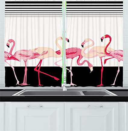 Retro Decor Kitchen Curtains By Ambesonne Pink Flamingo Birds Background With Stripes Love Romance Icons