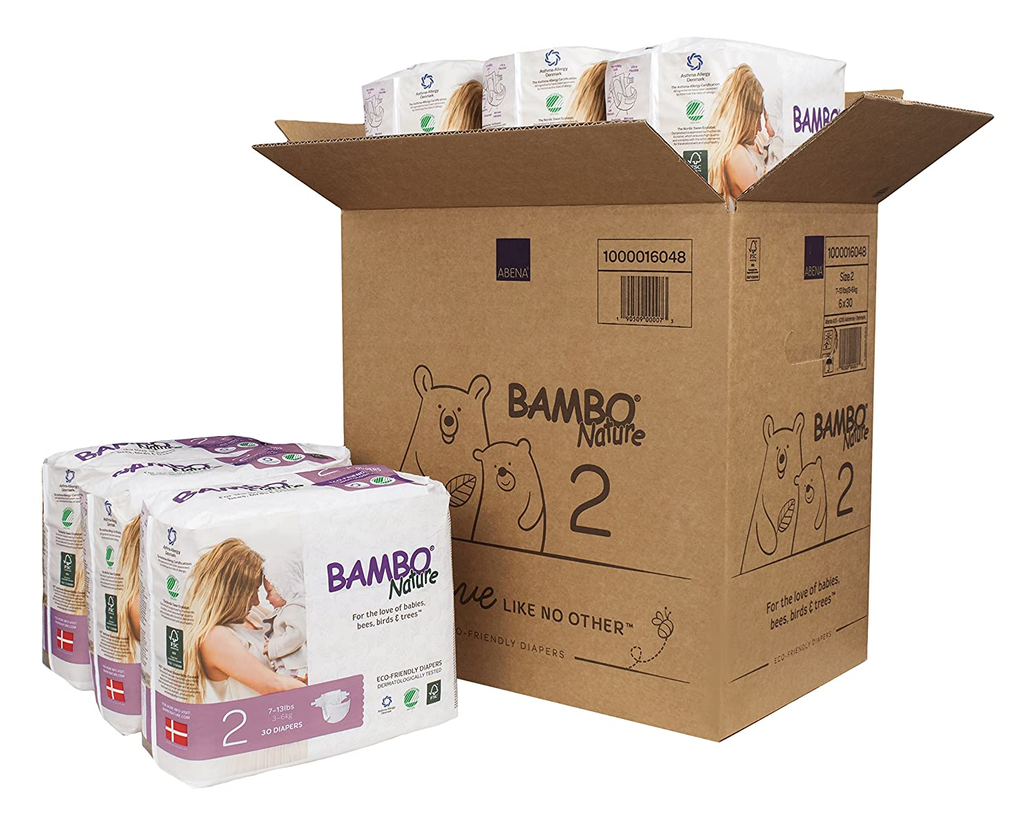 Size 4 15-40 lbs 30 Count Bambo Nature Premium Baby Diapers