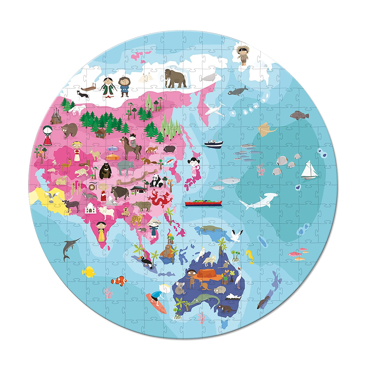 Amazon.com: Janod Our Blue Planet Round Double Sided Puzzle: Toys ...