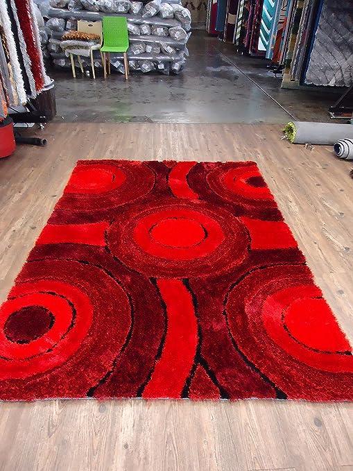 Amazon.com: RUGADDICTION Hermosa Alfombra Color Rojo hecha a mano estilo moderno suave y lujosa , gruesa pila de tamaño 5 x 7 pies: Kitchen & Dining