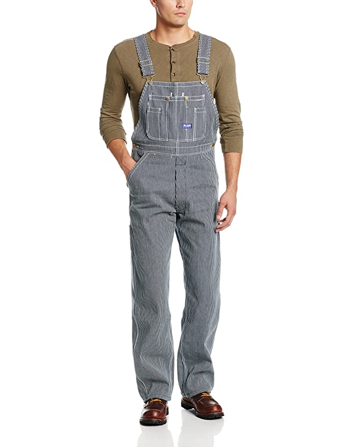 1910s Men's Working Class Clothing Walls Mens Big Smith Hickory Stripe Bib Overall $61.18 AT vintagedancer.com