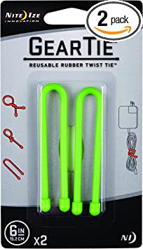 Nite Ize Reusable Rubber Twist Ties 24  L Black Carded 2 Pack
