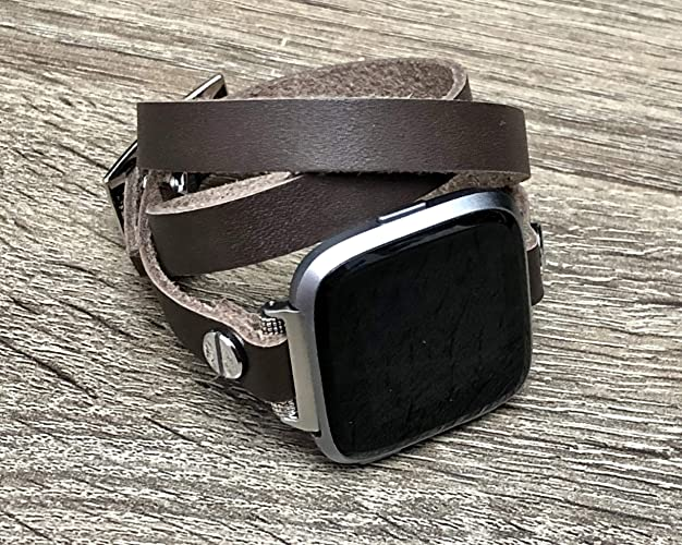 Brown Genuine Leather Bracelet For Fitbit Versa Smart Watch Handmade Multi Wrap Strap Fitbit Versa Fitness Watch Band Silver Metal Jewelry Adjustable ...