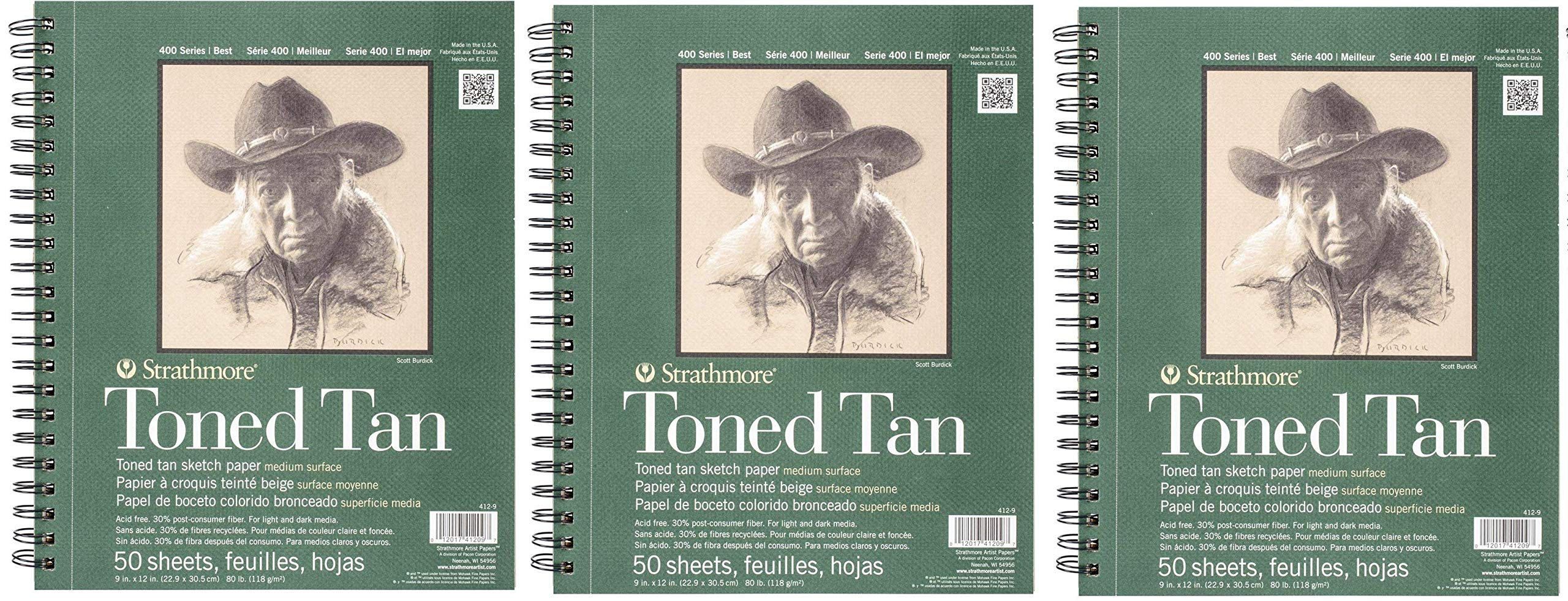 Strathmore 412-9 400 Series Toned Tan Sketch Pad, 9''x12'' Wire Bound, 50 Sheets (3-(Pack))