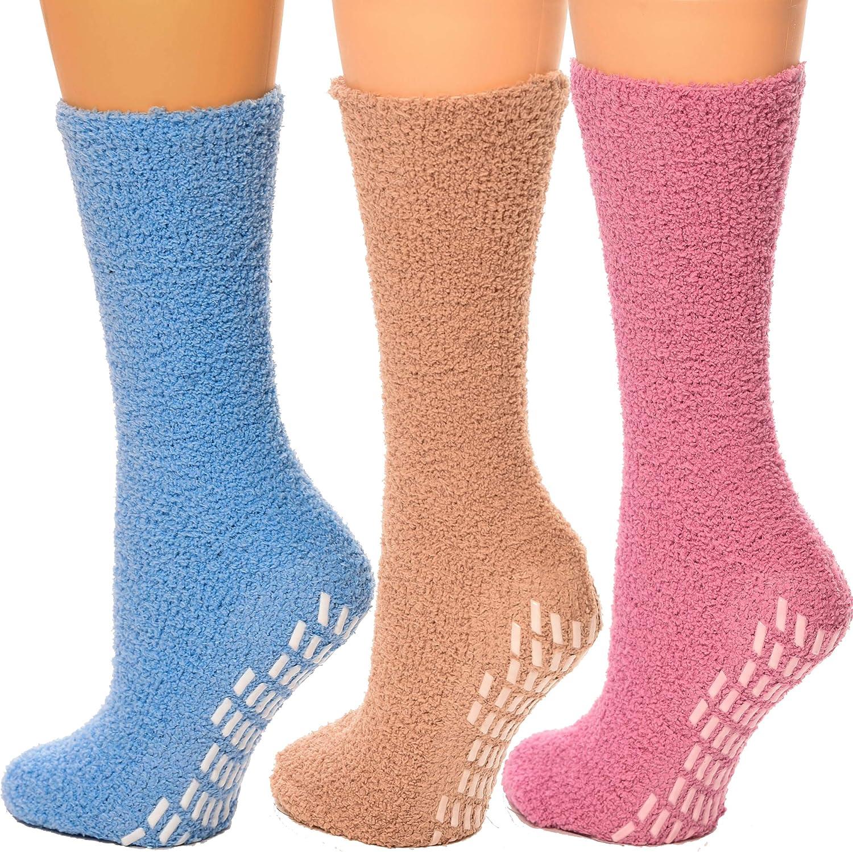 Debra Weitzner Non-slip Hospital Socks Fuzzy Slipper Grip Socks For Women Men 3 Pairs