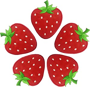 5 pcs Strawberry Patches for Clothing - Strawberry Iron on Patch -Strawberry Applique - Strawberry Patches for Jackets - Fruit Iron on Patches for Clothing Trendy- Easy Application - Vibrant Color