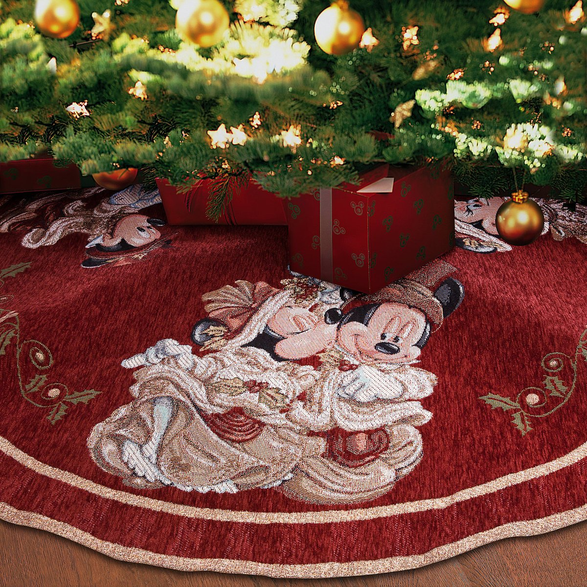 Disney Park Mickey Minnie Mouse Victorian Tapestry Christmas Holiday Tree Skirt by Disney Parks (Image #2)