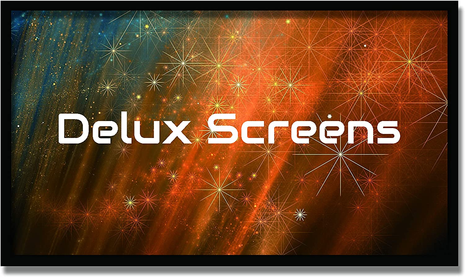 """Delux Screens 150 inch Ambient Light Rejecting 4K/8K Ultra HDR Projector Screen - Active 3D Ready - 6 Piece Fixed Frame - Home Theater Movie Projection Screen - Velvet Border (150"""", 16:9, Silver)"""