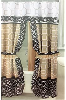 Better Home Double Swag Fabric Shower Curtain 12 Coordinated Rolling Ring Hooks 2 Tie
