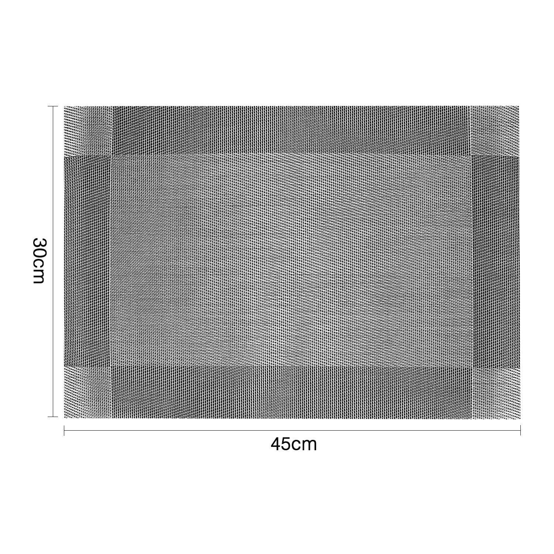 Tovaglie Quadrata Sottopiatti Non-scivolose Resistenti al Calore Vinile Set da 4 PVC Tovaglietta da Tavola Colazione Pranzo 30 X 45 cm GoMaihe Tovagliette Lavabile Americana Grigio Argento