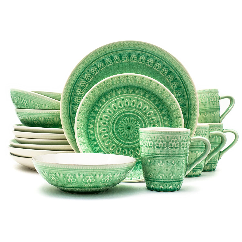 Euro Ceramica Fez Collection 16 Piece Ceramic Reactive Crackleglaze Dinnerware Set, Service for 4, Teardrop Mandala Design, Blue FZ-86521