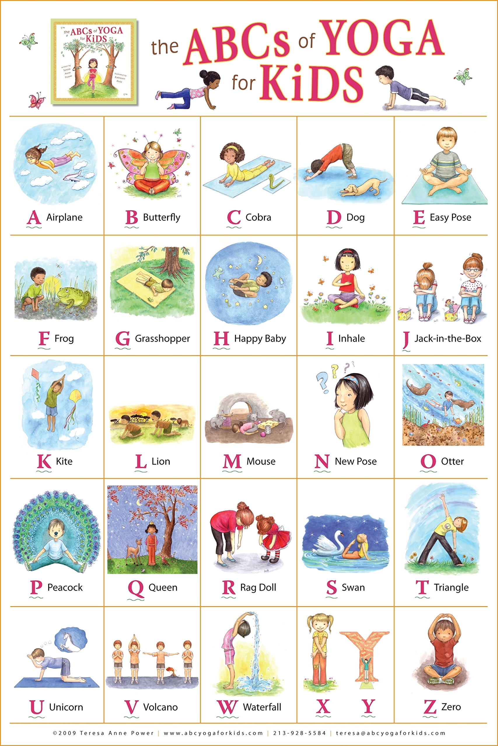 The Abcs Of Yoga For Kids Poster Teresa Anne Power Kathleen Rietz Kathleen Rietz 9780982258712 Amazon Com Books