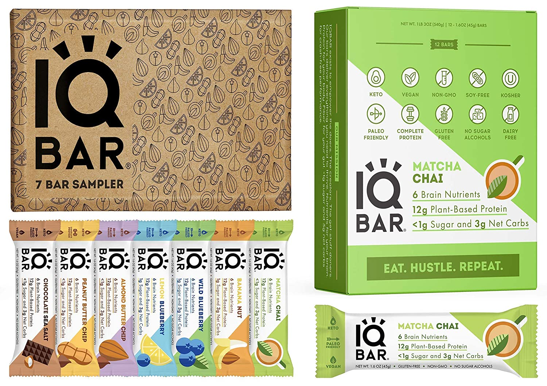 IQBAR Keto Protein Bars Bundle (19 Bars) - Gluten-free, Dairy-free Low Carb Protein Bars and Vegan Snacks - 12 Matcha Chai Protein Bars + 7 Bar Sampler Keto Snacks