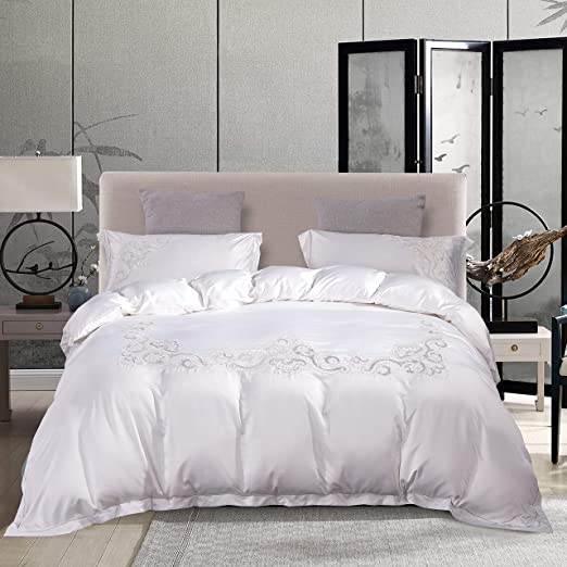 Embroidery Luxury White Bedding Set Duvet Cover Flat//Fitted Bed Sheet Pillowcase