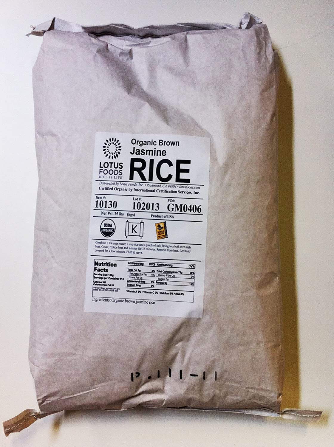 Lotus Foods Gourmet Organic Brown Jasmine Rice, 25-Pound Bag