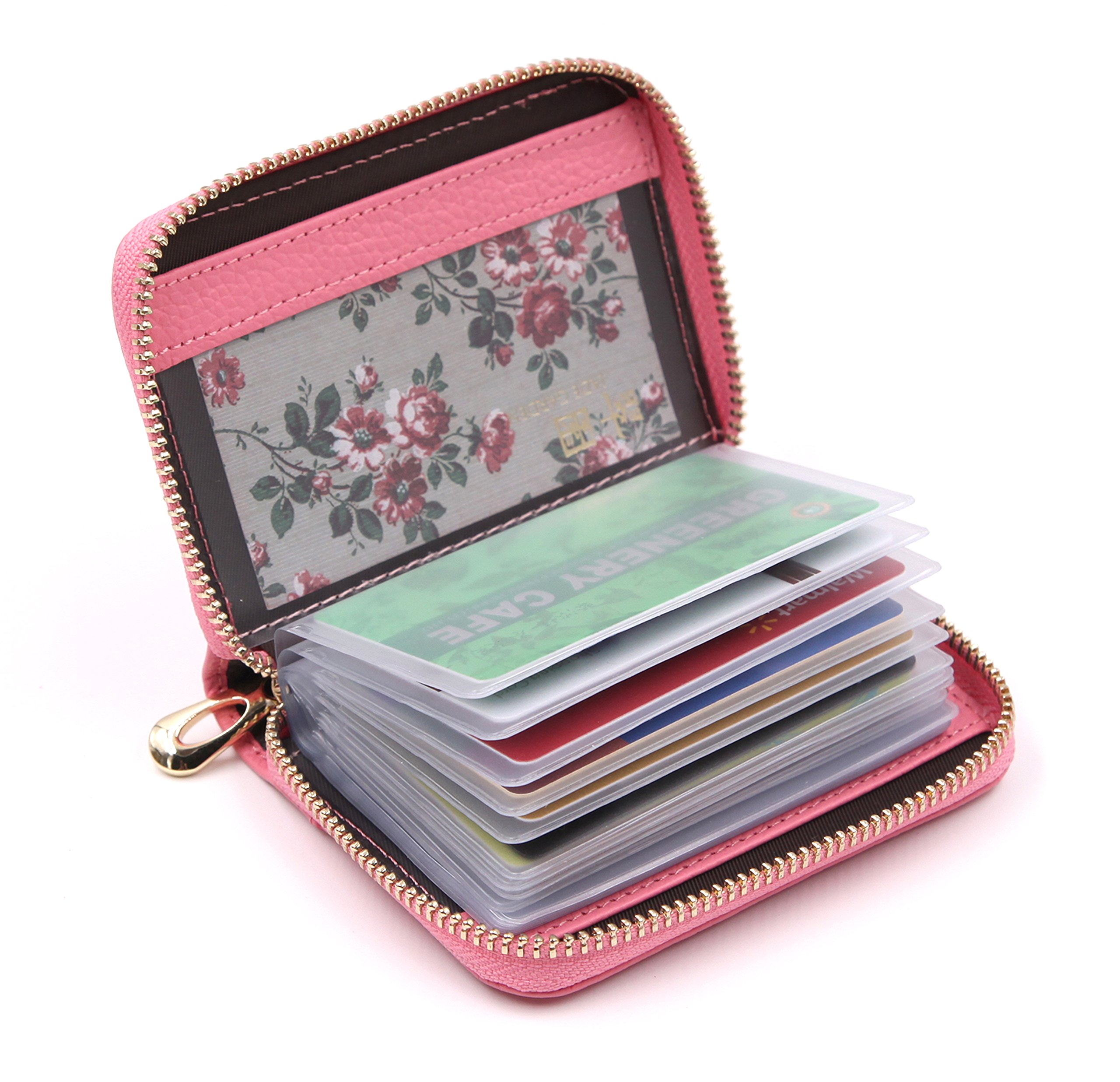 Women's Credit Card Case Wallet With 2 ID Window and Zipper Card Holder Purse (Pink)