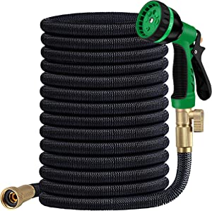 Expandable Garden Hose Kit 100 ft -Superior Strength 3750D - 4-Layers Latex,Extra-Strong Brass Connector- 8 Function Water Spray Nozzle (100FT) (BLACK)