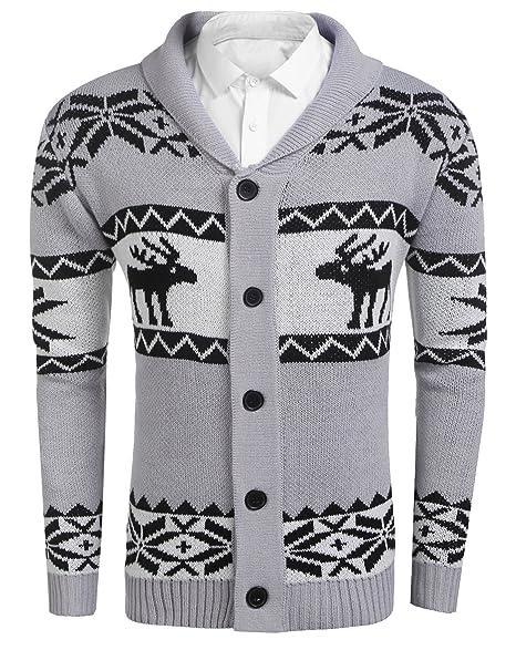 7b71bd715 Misakia Men s Shawl Collar Cardigan Sweater Button Front Contrast ...