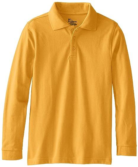 fb99350d CLASSROOM Little Boys' Uniform Long Sleeve Pique Polo, Gold, X-Small