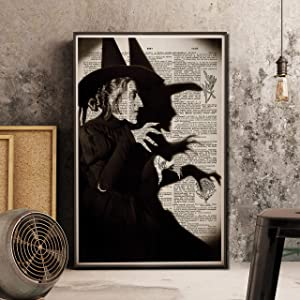 Minitowz Vintage Wicked Witch Art Prints Poster, Wizard of Oz Halloween Decor, Antique Dictionary Book Page Giclee, Black and White Gothic Dorm Haunted House
