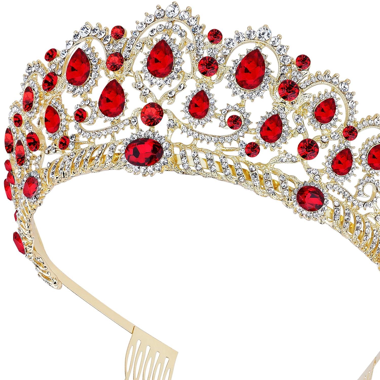 ArtiDeco Vintage Crystal Wedding Crown Tiara Rhinestone Tiara Crown Princess Tiara Bridal Hair Accesories with Comb Pin Rose Gold