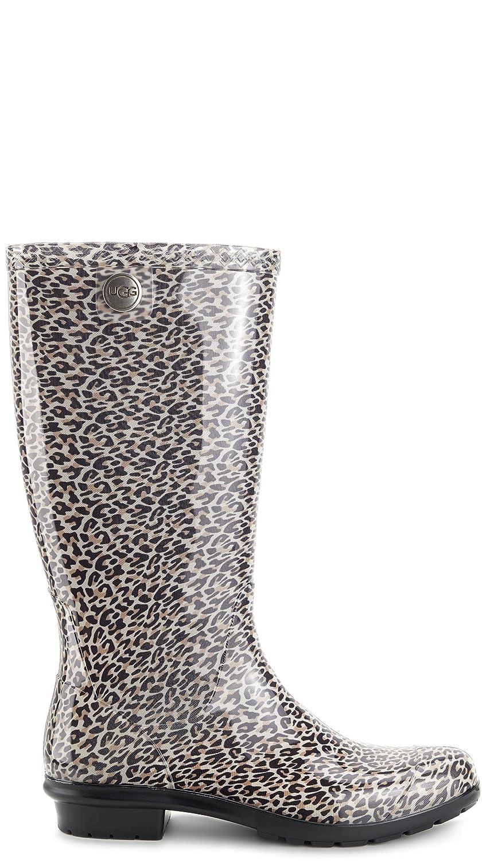 Amazon.com | UGG Australia Women's Shaye Leopard Rain Boots, Black, 7 | Mid-Calf