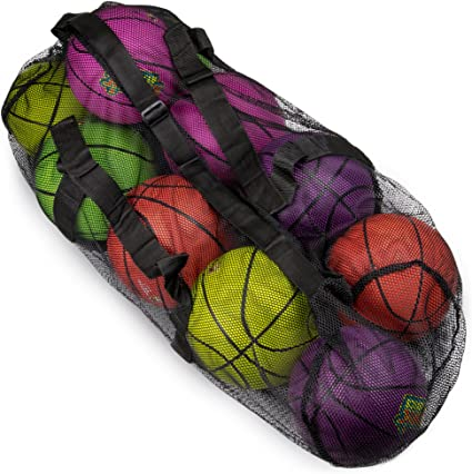 hatisan 2Pcs Sports Ball Holder with Long Bold Handle 30inch//76cm Upgraded Heavy Duty Mesh Ball Shoulder Bag Ball Carrier Net Bag for Basketball Football Soccer Volleyball Rugby Black