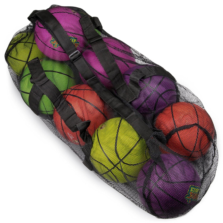 39インチメッシュスポーツボールバッグwith Adjustable Shoulderストラップ、Oversize Duffle – Great for Carryingジム機器、ジャージ、& Laundry byクラウンスポーツ用品 B079T75D2Wブラック