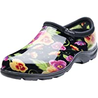 Sloggers Women's Black Pansy Flower Print Short Rain Shoes