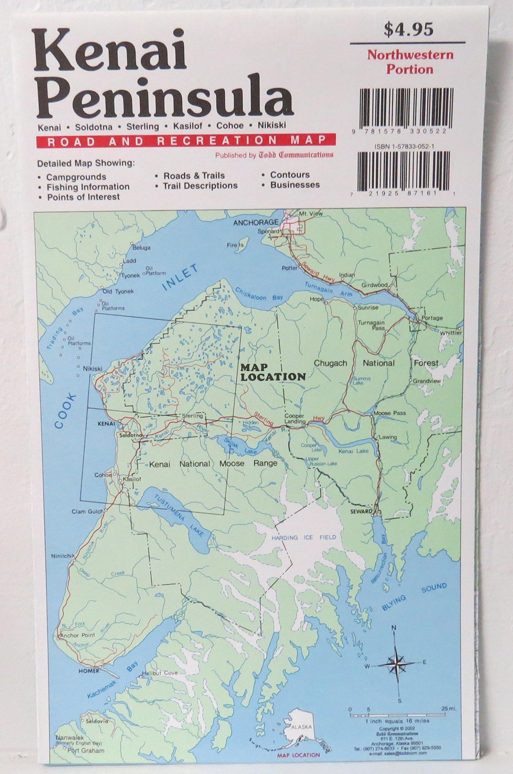 Kenai Peninsula Road and Recreation Map : Kenai, Soldotna, Sternling on manley hot springs map, cordova map, eielson afb map, new stuyahok map, holy cross map, marshall map, yakutat map, adak map, king salmon map, talkeetna map, mountain village map, nome map, anchorage map, homer map, big lake map, whittier map, wainwright map, tustumena lake map, sitka map, st. paul island map,