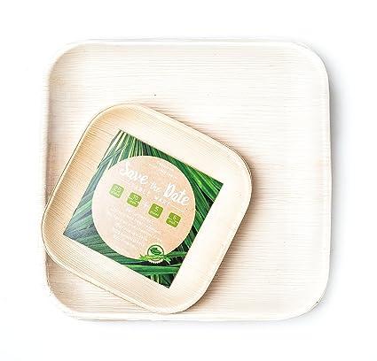 Disposable Bamboo Areca Palm Leaf Square Plates 25 x 10u0026quot; PLUS 5 x 6u0026quot  sc 1 st  Amazon.com & Amazon.com: Disposable Bamboo Areca Palm Leaf Square Plates 25 x 10 ...