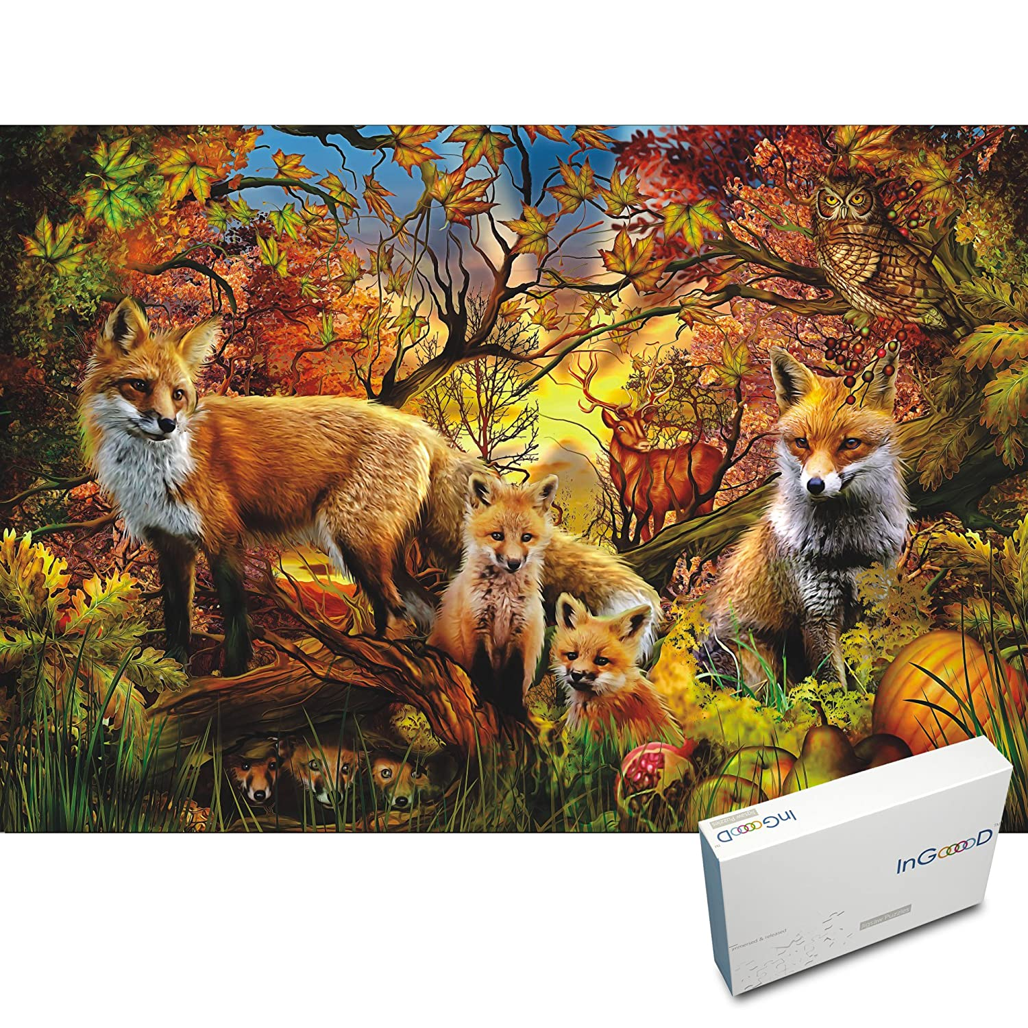 Ingooood 300 Pieces Cardboard Jigsaw Puzzles For Adult Animals Newbeetleorgexploded Diagrams Part Numbers Gooood Stuff Series Autumn Family Of Wolves And Foxes