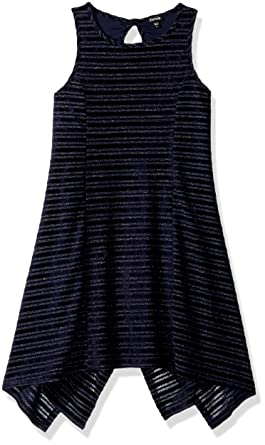 ceea714533c9 Amazon.com: ZUNIE Girls' Big' Sleeveless Burnout Stripe Velvet Swing Dress:  Clothing