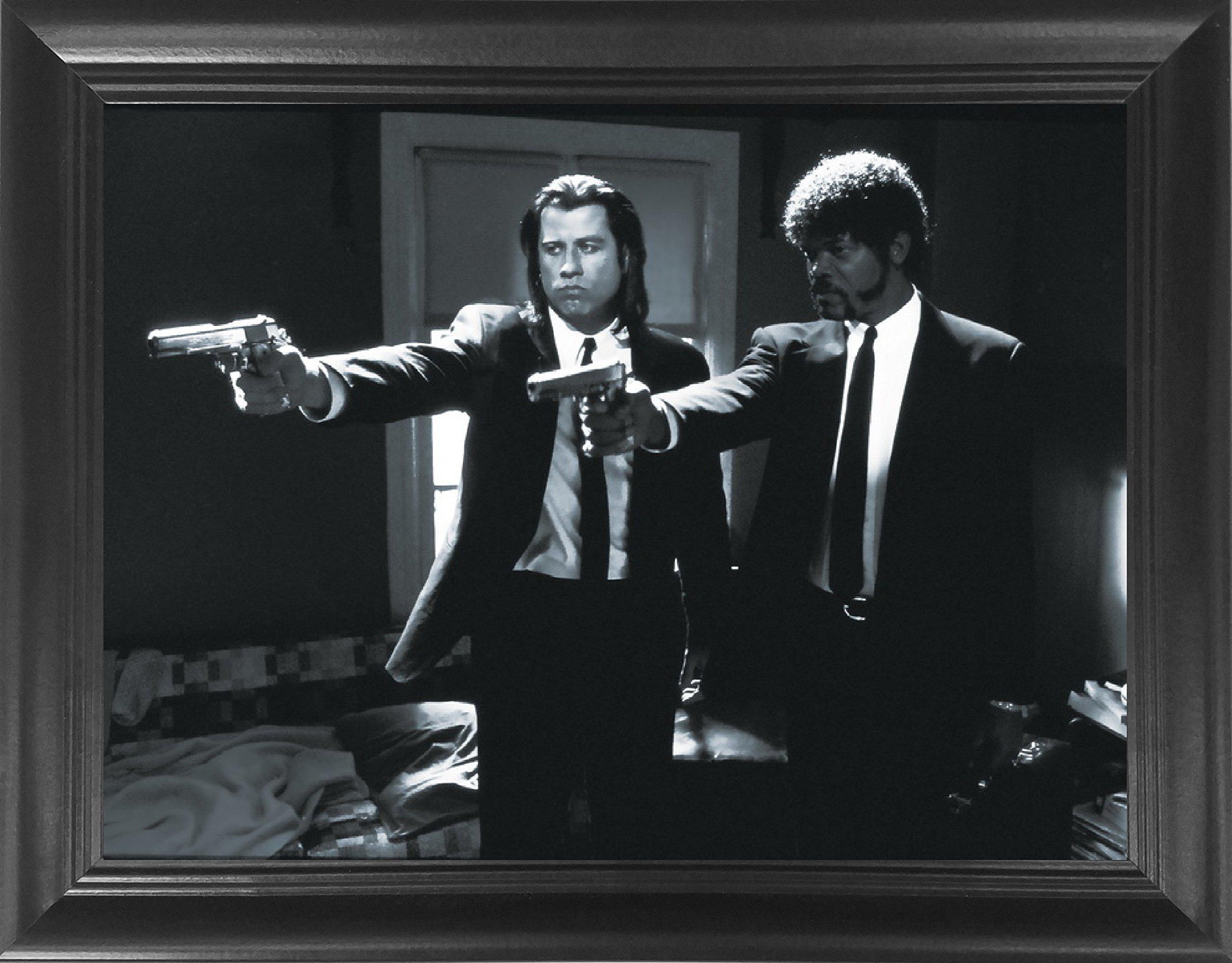 Pulp Fiction John Travolta & Samuel L Jackson Framed 3D Lenticular Movie Poster - 14.5x18.5 - Quentin Tarantino - Unbelievable Life Like Framed 3D Art Picture, Cool Art Deco, Unique Wall Art Décor