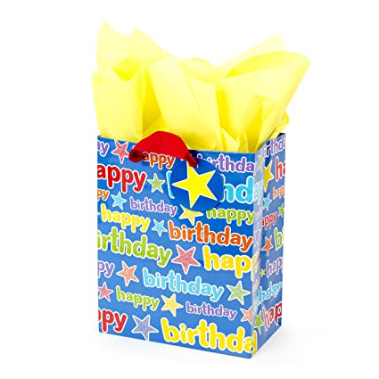 Amazon Hallmark Medium Birthday Gift Bag With Tissue Paper Blue Happy Kitchen Dining