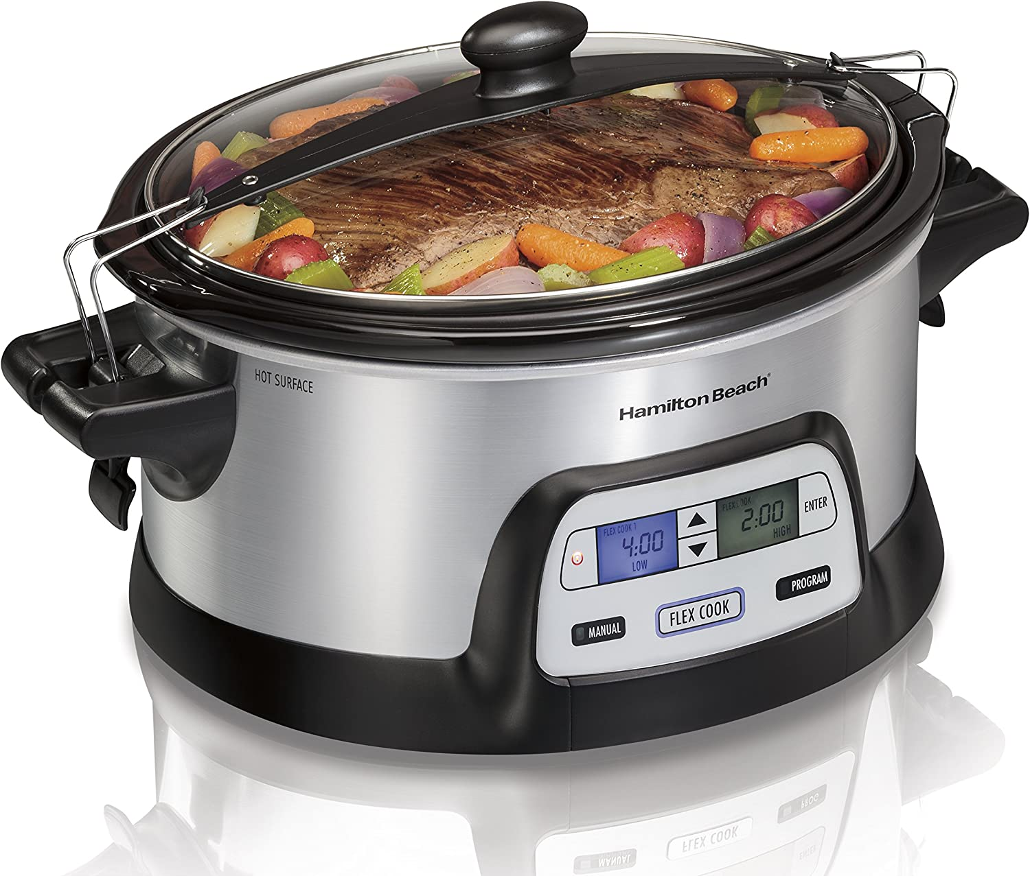Hamilton Beach Stay or Go Portable 6-Quart Programmable Slow Cooker With FlexCook Dual Digital Timer for 2 Heat Settings, Lid Lock 33861
