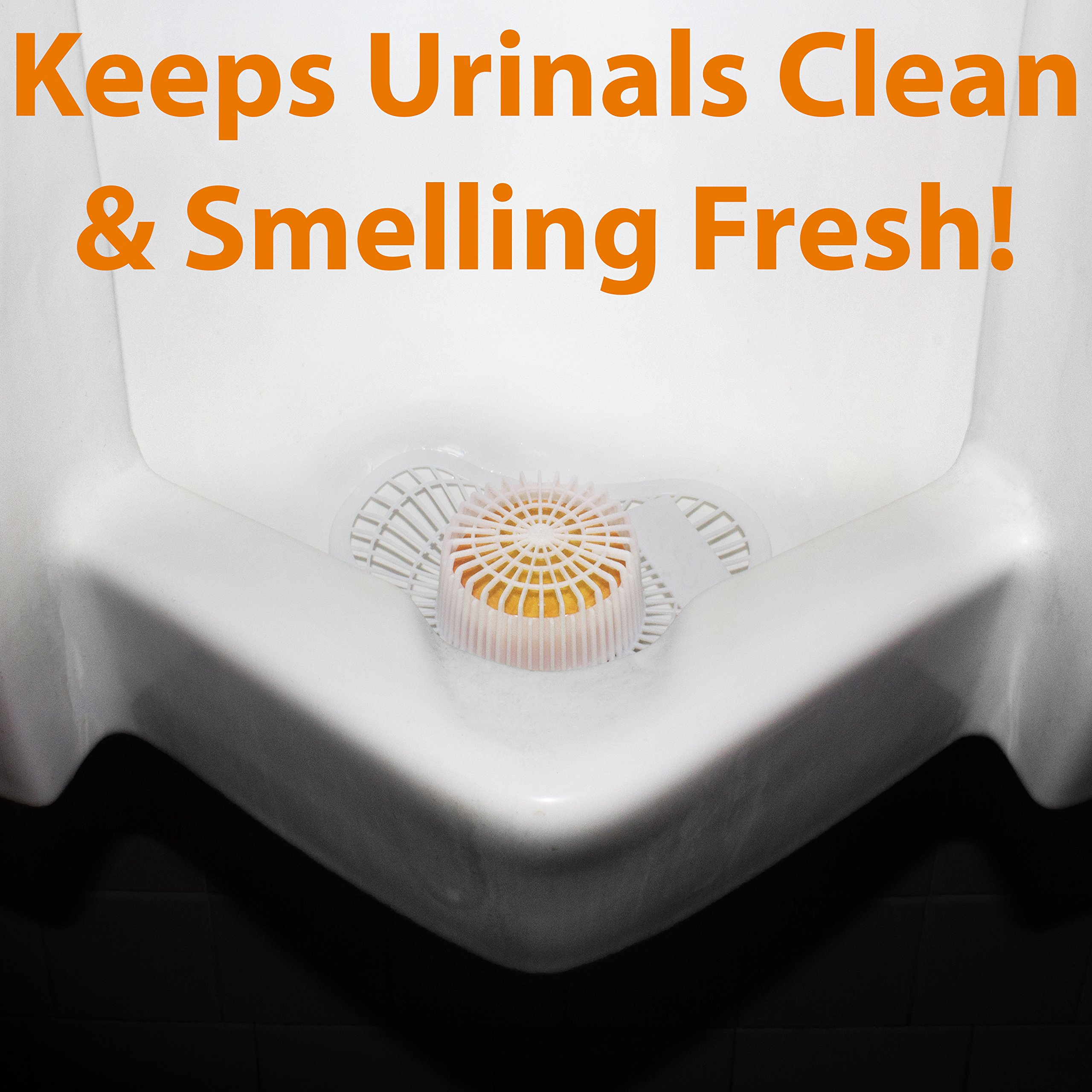 Long Lasting Urinal Screen and Deodorizer with Non-Para Block 12 Pack. Universal-Fit, Citrus-Scent Cake Releases Cleaning Agents To Remove Odor. Durable Mat Limits Janitorial Cleaning and Supply Needs by Mop Mob (Image #2)