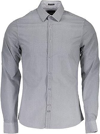 Guess M73h15 Allover - Camisa para hombre, color gris: Amazon ...