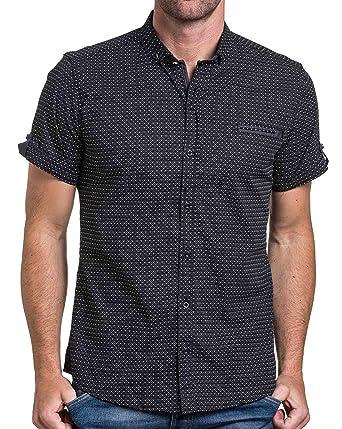 BLZ Jeans Chemisette Homme Noir Motifs Triangle