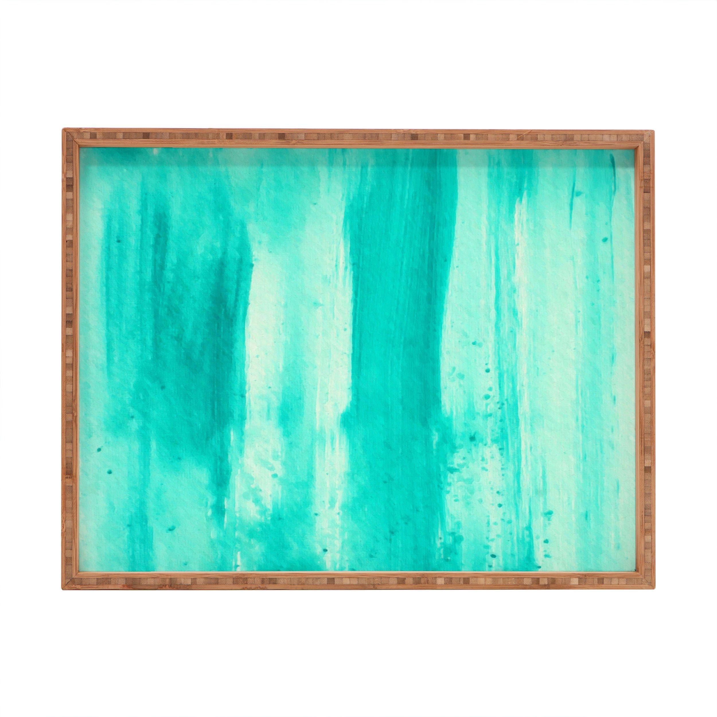 Deny Designs Madart Inc. Modern Dance Aqua Passion Indoor/Outdoor Rectangular Tray, 14 x 18
