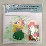 Children's Christmas Tree Card making Kit - Makes 4 cards, includes cards & envelopes, embellishments, papers and shapes