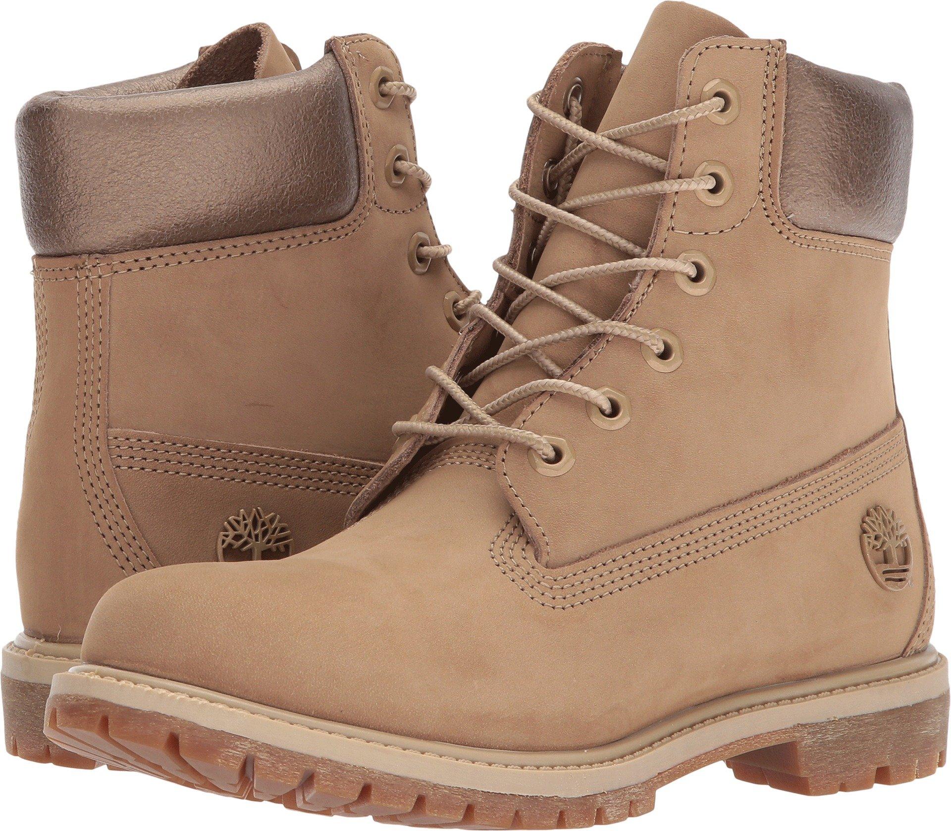 Timberland Women's 6'' Premium Boot Natural Nubuck/Metallic Collar 8.5 B US