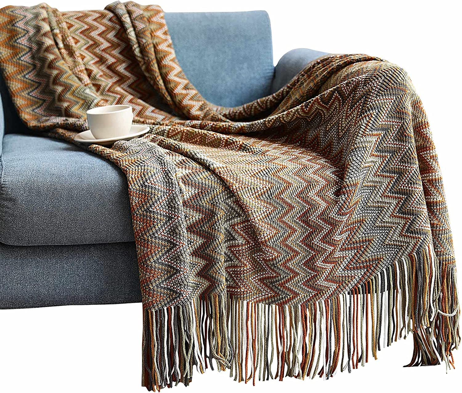 Avitalk Bohemian Sofa Max 86% OFF Bed Blanket Cozy Washington Mall with Soft Knitted Tassels