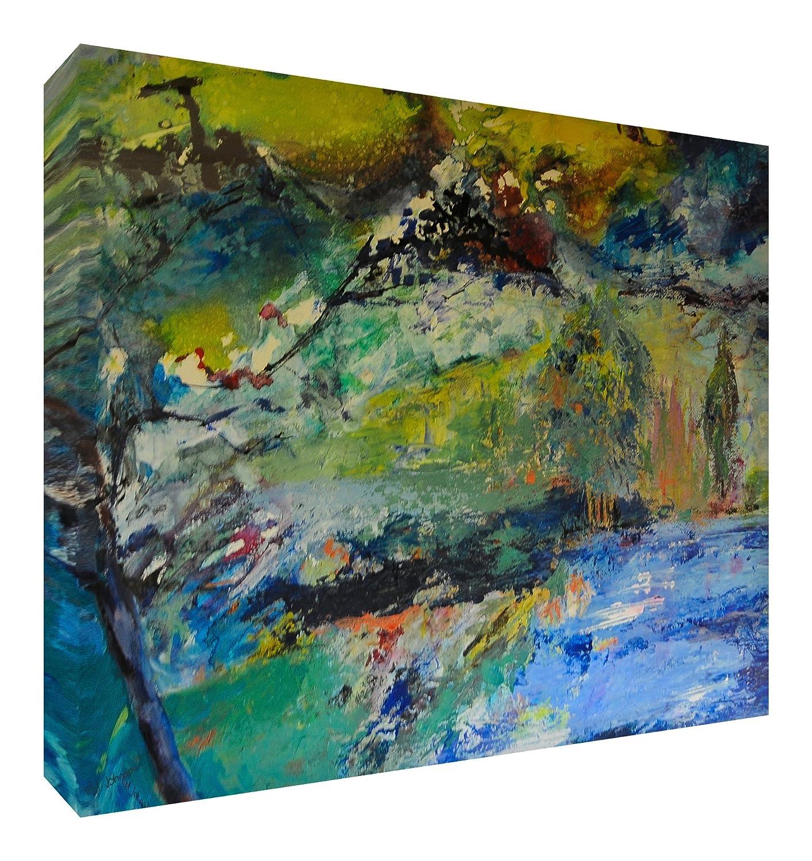 Feel Good Art Leinwand leuchtenden Farben Abstrakt gehören des Künstlers Val Johnson Himmel blau 115x 78x 4cm Größe XXL