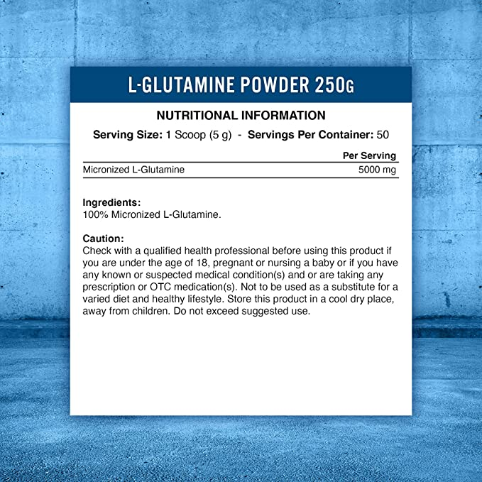 Applied Nutrition L-Glutamine Micronized Powder, Optimum Muscle Strength & Recovery Glutamine, Boosts Immune System, Amino Acid, Unflavoured - Vegan, Halal, Gluten Free, 250g - 50 Servings: Amazon.co.uk: Health & Personal Care