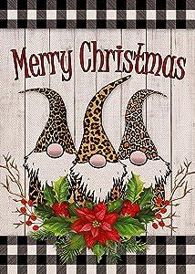 Furiaz Merry Christmas Garden Flag Buffalo Plaid Check, Xmas Gnomes Home Decorative House Yard Outside Small Flag Winter Holiday Leopard Decor Double Sided Farmhouse Seasonal Outdoor Decorations 12x18