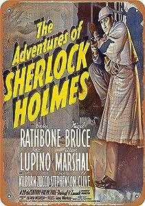 NOT Adventures of Sherlock Holmes Movie Tin Wall Sign Warning Plaque Retro Iron Painting Metal Poster Artwork Decor for Garage Home Garden Bar Café