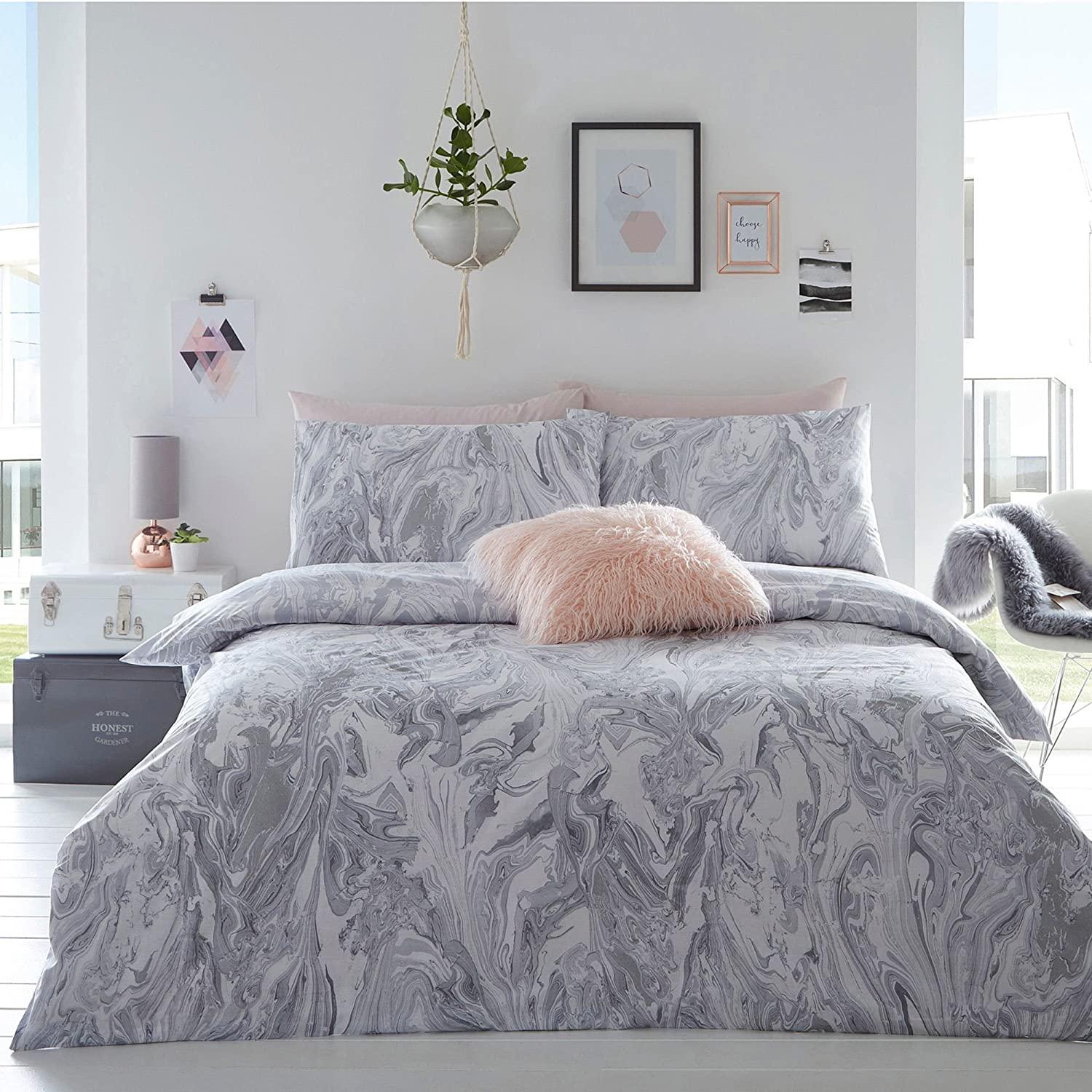 Debenhams Home Collection Basics Grey 'Cosmo Glitter Marble' Bedding Set Double