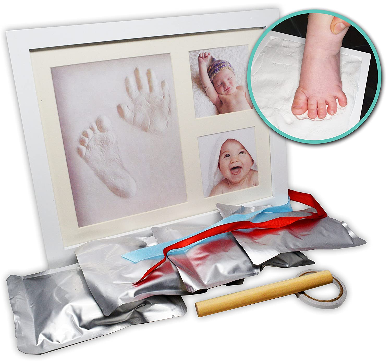 Baby Handprint Kit & Footprint Picture Frame for Newborns, New Moms, Nursery Decor, Baby Registry, Shower Gift, Bonus Ornament Included by Shibbu SHFR0001