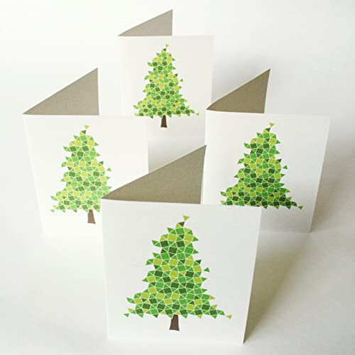 evergreen christmas cards set of 12 modern non denominational holiday greeting cards eco - Non Photo Christmas Cards
